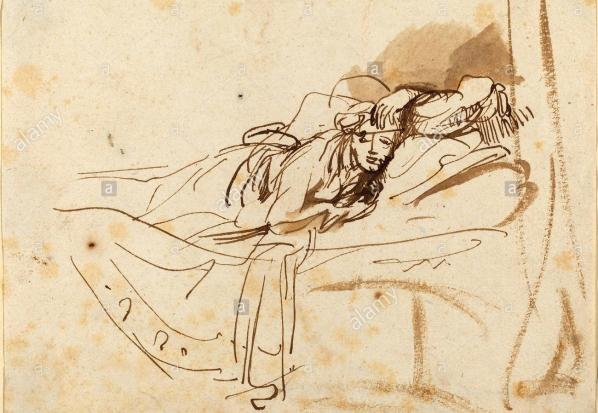 rembrandt-van-rijn-dutch--saskia-lying-in-bed-c-1638-pen-H4KK57