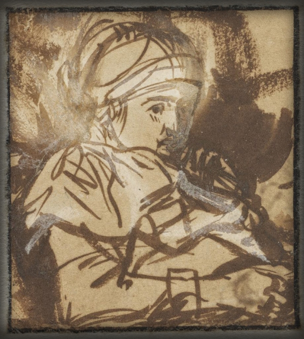 1635-39c Study of Saskia(?) brown ink, brown wash and white gouache on light tan antique laid paper 7 x 6.3 cm Harvard Art Museums_Fogg Museum, Cambridge MA.jpg