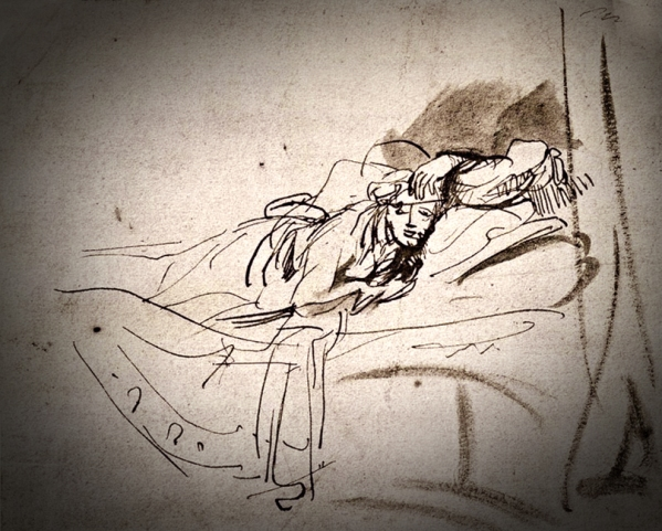 1638c Study of Saskia Lying in Bed pen and bistre and wash 12-1.5 x 18 cm.jpg