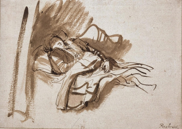 7-1.-David-Williams-Ellis-loves-the-sculptural-depth-of-Rembrandt-Van-Rijns-pen-and-ink-drawing-Saskia-in-Bed-in-the-Master-Drawing-Exhibition-at-the-Ashmolean-in-Oxford.jpg
